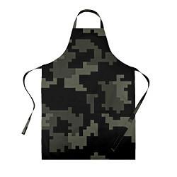 Фартук кулинарный Камуфляж пиксельный: черный/серый цвета 3D — фото 1