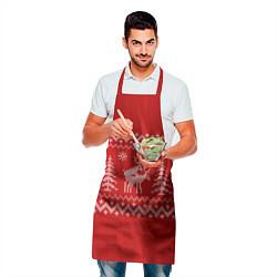 Фартук кулинарный Олени под елками цвета 3D — фото 2
