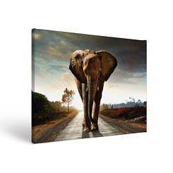 Холст прямоугольный Дикий слон цвета 3D — фото 1