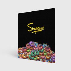 Холст квадратный Simpsons Donuts цвета 3D-принт — фото 1