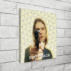 Холст квадратный Кобейн с пистолетом цвета 3D — фото 2