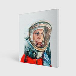 Холст квадратный Гагарин в полете цвета 3D-принт — фото 1