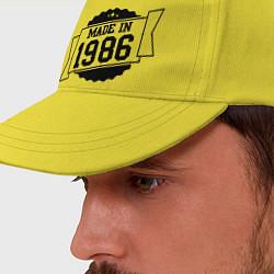 Бейсболка Made in 1986 цвета желтый — фото 2