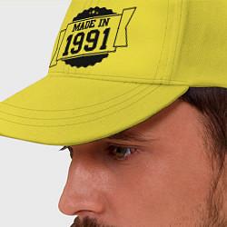 Бейсболка Made in 1991 цвета желтый — фото 2
