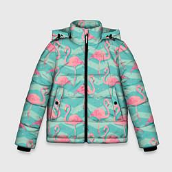 Куртка зимняя для мальчика Flamingo Pattern цвета 3D-черный — фото 1