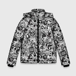 Куртка зимняя для мальчика Стикербомбинг цвета 3D-черный — фото 1
