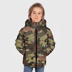 Куртка зимняя для мальчика Камуфляж: коричневый/хаки цвета 3D-черный — фото 2