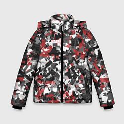Куртка зимняя для мальчика Камуфляж: серый/красный цвета 3D-черный — фото 1