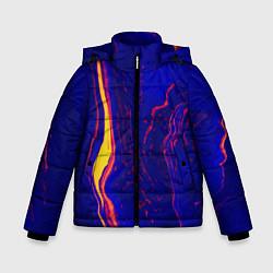 Детская зимняя куртка для мальчика с принтом Ультрафиолетовые разводы, цвет: 3D-черный, артикул: 10134103706063 — фото 1