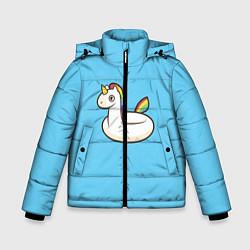 Куртка зимняя для мальчика Единорог цвета 3D-черный — фото 1