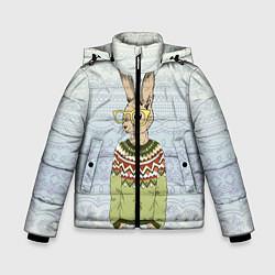 Куртка зимняя для мальчика Кролик хипстер цвета 3D-черный — фото 1