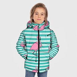 Куртка зимняя для мальчика Полосатые фламинго цвета 3D-черный — фото 2