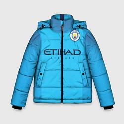 Детская зимняя куртка для мальчика с принтом FC Man City: Home 18-19, цвет: 3D-черный, артикул: 10152567106063 — фото 1