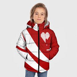 Детская зимняя куртка для мальчика с принтом Игра в сердца, цвет: 3D-черный, артикул: 10152700106063 — фото 2