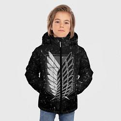 Куртка зимняя для мальчика Атака Титанов: белая пыль цвета 3D-черный — фото 2