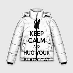 Куртка зимняя для мальчика Обними своего черного кота цвета 3D-черный — фото 1