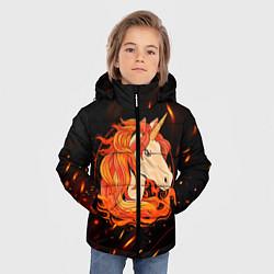 Куртка зимняя для мальчика Огненный единорог цвета 3D-черный — фото 2