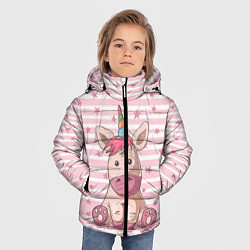 Куртка зимняя для мальчика Единорожек цвета 3D-черный — фото 2