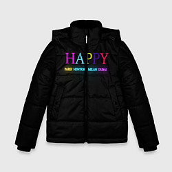 Куртка зимняя для мальчика HAPPY цвета 3D-черный — фото 1