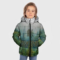 Куртка зимняя для мальчика Лес мой храм цвета 3D-черный — фото 2