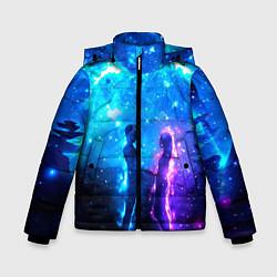 Куртка зимняя для мальчика Внеземная пара луна ночь цвета 3D-черный — фото 1