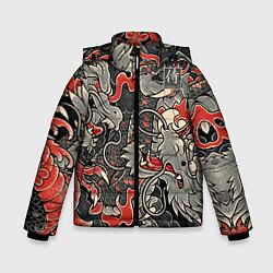 Куртка зимняя для мальчика Самурай Якудза, драконы цвета 3D-черный — фото 1
