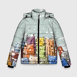 Куртка зимняя для мальчика Котики цвета 3D-черный — фото 1