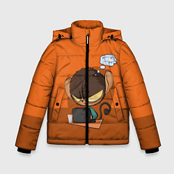 Куртка зимняя для мальчика Маленький Хакер цвета 3D-черный — фото 1
