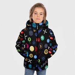Куртка зимняя для мальчика ЛОГОТИПЫ КРИПТОВАЛЮТ Z цвета 3D-черный — фото 2