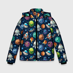 Куртка зимняя для мальчика Мультяшные планеты цвета 3D-черный — фото 1