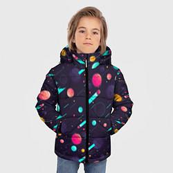 Куртка зимняя для мальчика Космические движения комет цвета 3D-черный — фото 2