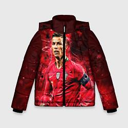 Куртка зимняя для мальчика Криштиану Роналду Португалия цвета 3D-черный — фото 1