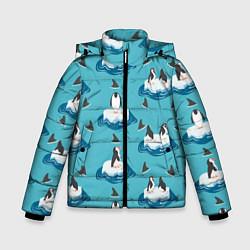 Куртка зимняя для мальчика Пингвины цвета 3D-черный — фото 1