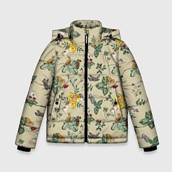 Куртка зимняя для мальчика Зайчики с Цветочками цвета 3D-черный — фото 1