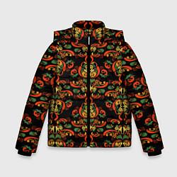Куртка зимняя для мальчика Хохломские узоры II black цвета 3D-черный — фото 1
