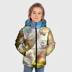 Детская зимняя куртка для мальчика с принтом Радужный единорог, цвет: 3D-черный, артикул: 10065040406063 — фото 2
