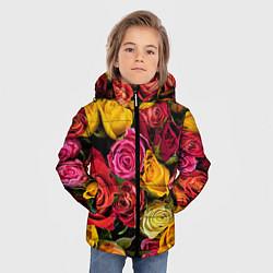 Детская зимняя куртка для мальчика с принтом Ассорти из роз, цвет: 3D-черный, артикул: 10067033006063 — фото 2