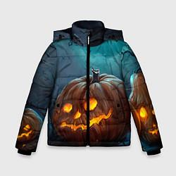 Детская зимняя куртка для мальчика с принтом Тыква, цвет: 3D-черный, артикул: 10071139706063 — фото 1