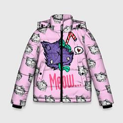 Куртка зимняя для мальчика Drop Dead: Meow цвета 3D-черный — фото 1