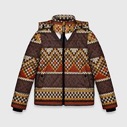 Куртка зимняя для мальчика Зимний узор с галстуком - фото 1