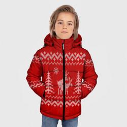 Куртка зимняя для мальчика Олени под елками цвета 3D-черный — фото 2