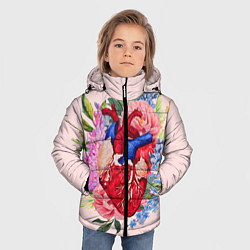 Детская зимняя куртка для мальчика с принтом Цветочное сердце, цвет: 3D-черный, артикул: 10079271506063 — фото 2