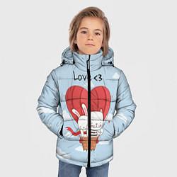 Куртка зимняя для мальчика Влюбленные на шаре цвета 3D-черный — фото 2