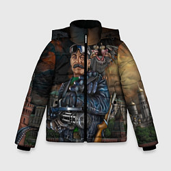 Детская зимняя куртка для мальчика с принтом Сталин военный, цвет: 3D-черный, артикул: 10082408306063 — фото 1