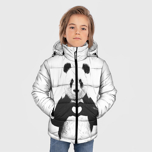 Зимняя куртка для мальчика Panda Love / 3D-Черный – фото 3