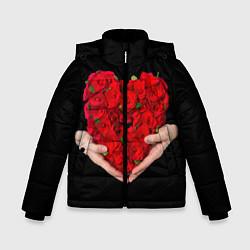 Детская зимняя куртка для мальчика с принтом Сердце роз в руках, цвет: 3D-черный, артикул: 10083686306063 — фото 1