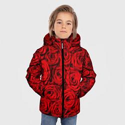 Куртка зимняя для мальчика Красные розы цвета 3D-черный — фото 2