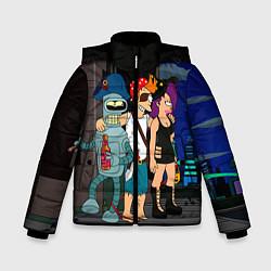 Детская зимняя куртка для мальчика с принтом Футурама пати, цвет: 3D-черный, артикул: 10092145706063 — фото 1