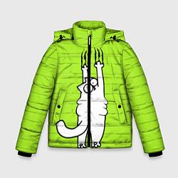 Куртка зимняя для мальчика Кот Симон на стене цвета 3D-черный — фото 1