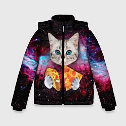 Куртка зимняя для мальчика Кот с едой цвета 3D-черный — фото 1